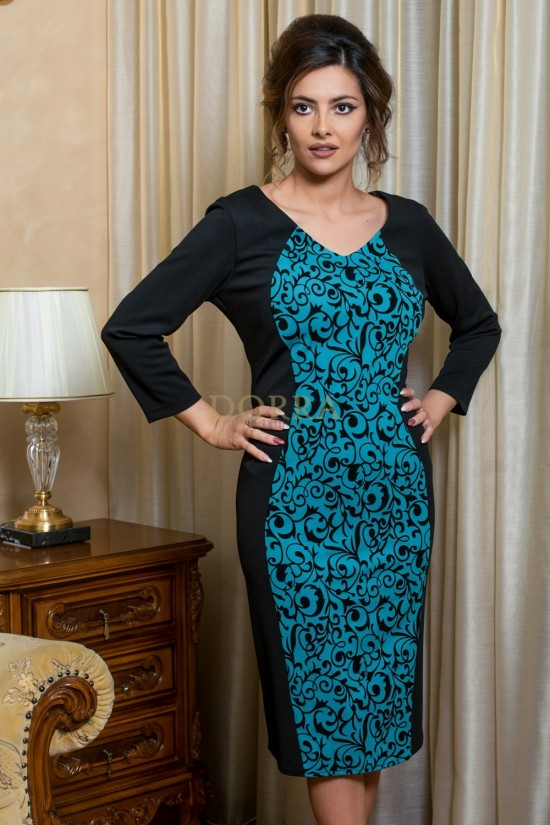 Rochie Magda - imprimeu turquoise