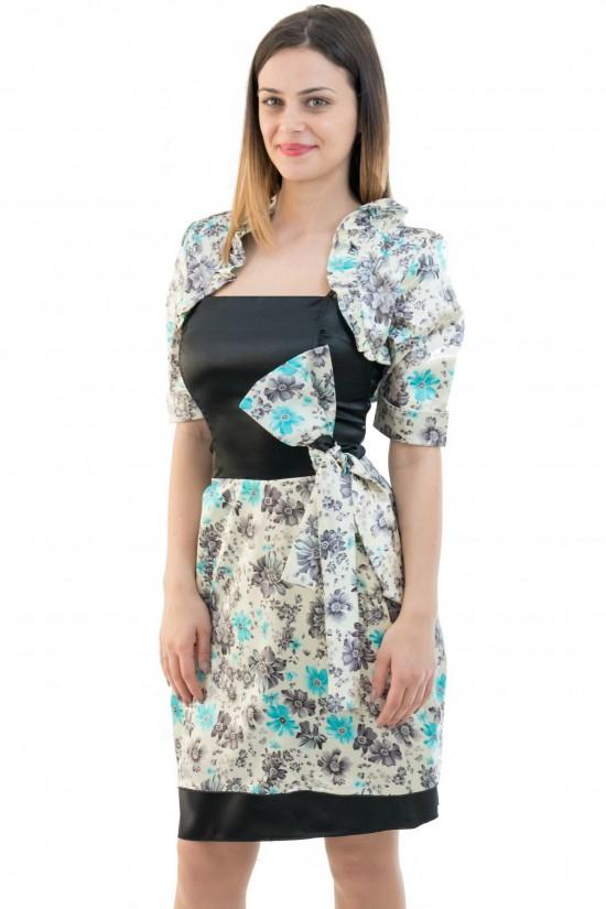 Compleu din satin Luiza (rochie + bolero)